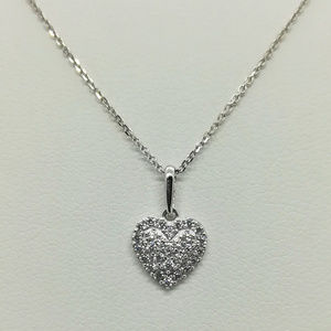 Jewelry - 14k White Gold CZ Double Heart Necklace Pendant